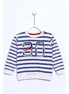 Silversun Kids Çizgili Baskılı Kol Ve Etek Ucu Lastik Örme Sweatshirt Js 110104